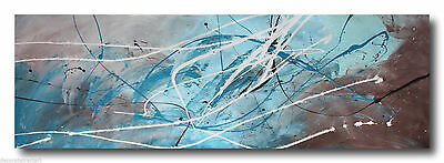 ABSTRACT CANVAS PAINTING turquois brown. Modern wall art Australia