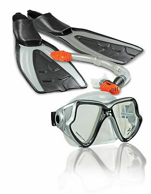 Land & Sea Fiji Snorkel, Mask & Fins Set - 4 Piece Set - Multiple Sizes