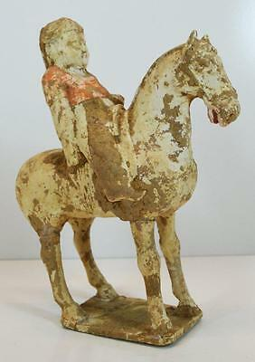 Antiquity 8th Century Asian China Tang Dynasty Terracotta Statue Rider on Horse