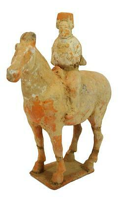 "Antiquity 13"" 8th Cent. Asian China Tang Dynasty Terracotta Statue Rider Horse"
