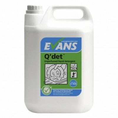 Q'Det  5lt unperfumed washing up liquid Detergent rich high foam Evans Vanodine