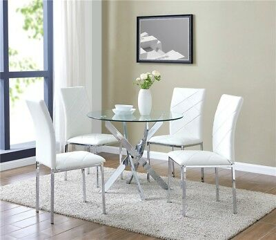 Glass Dining Table Set and with 4 White Faux Leather Chairs Round Table Designer