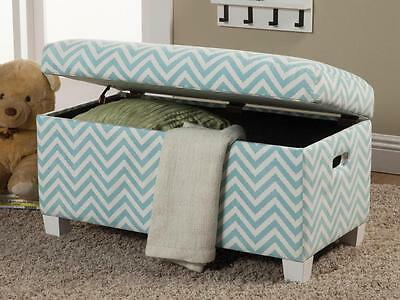 Upholstered Storage Bench in Blue Fabric Chevron Pattern by Coaster 405027