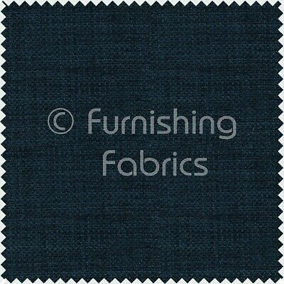 New Soft Designer Linen Look Chenille Upholstery Curtains Navy Blue Plain Fabric