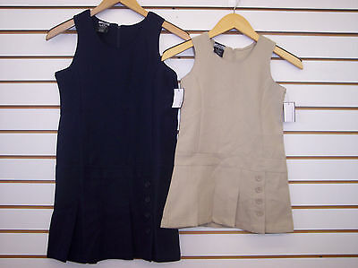 Girls Jumper Dress Style School Uniforms Khaki & Navy Size 4 - 181/2