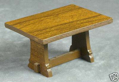 Antique Dollhouse Miniature Furniture OAK Wood HAND MADE DINING TRESTLE TABLE