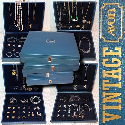 !!sale!! Vtg Avon 94Pc Costume Jewelry Sales Agent Boxes W/invntry-Ring-Necklace