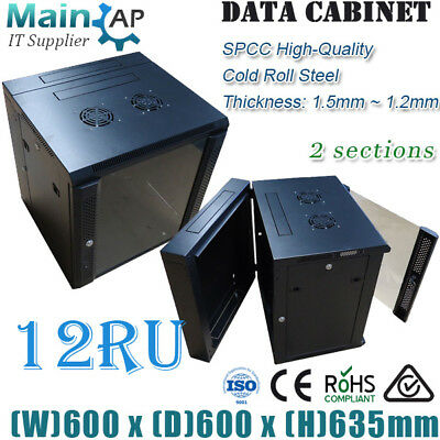 "12RU 12U 19"" 600x600mm WALL MOUNT COMPLETED SERVER RACK CABINET WITH 7 WAYS PDU"