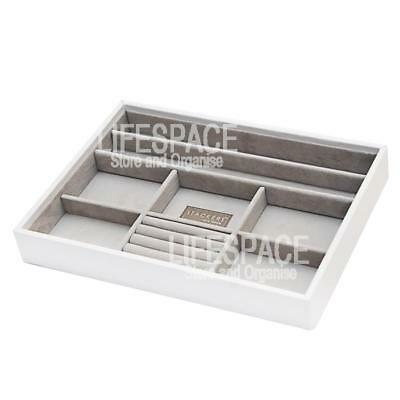 Stackers Jewellery Box Organiser 8 Section White Stackable Tray