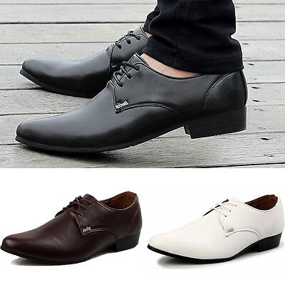 Fashion Genuine Leather Pointed Oxfords Mens Wedding Business Formal Dress Shoes