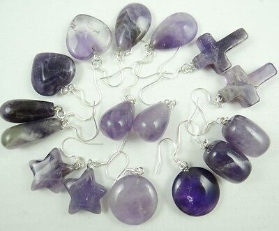 Beautiful Pair Of Mixed amethyst pendant Earrings AB_13