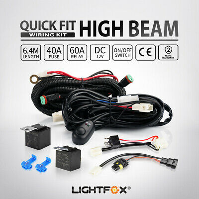 LED Light Wiring Loom Harness Relay Kit Driving Lamp Plug Quick Fit H3 H4