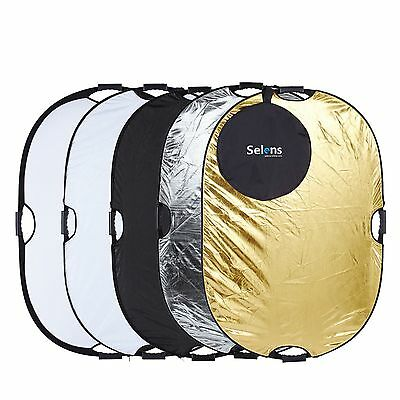 """Selens 32x48"""" 5in1 Light Mulit Oval Collapsible Portable Reflector 80x120cm AU"""