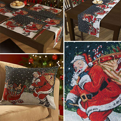 SANTA & SLEIGH Christmas table runners, placemats or cushions HIGH QUALITY GIFT