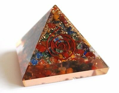 Reiki Charged Seven Chakra Orgone Crystal Pyramid Powerful Energy Generator Uk
