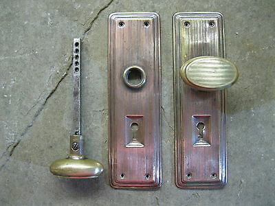 Original Reclaimed Brass Door Knobs Copper Plate Backplates 0145