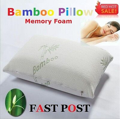 1x,2x Luxury Bamboo Pillows Memory Foam Fabric Fibre +Extra Cover 60 x 40 cm