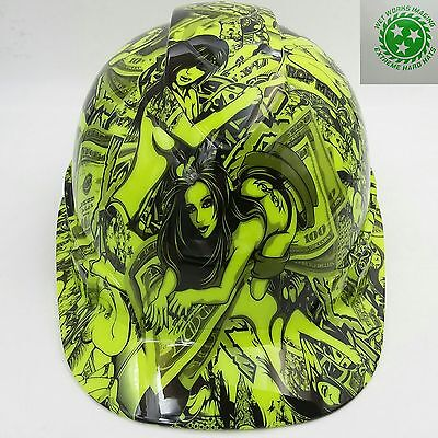 Hard Hat custom hydro dipped , OSHA approved HUSTLER GIRLS LIME GREEN