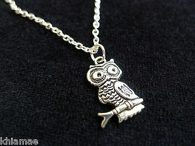 "Wise Owl Pendant 18"" silver plated chain wicca pagan jewellery animal spirit"