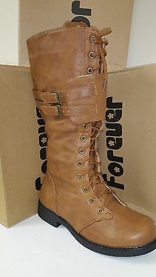 191e01ea0ce6a Women's Forever Link Andrea-12 High Tan Lace Up Boots Multiple Sizes Brand  New
