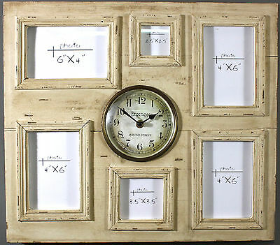 Distressed Antique Cream Wall Hanging Clock And Photo Frame LK831