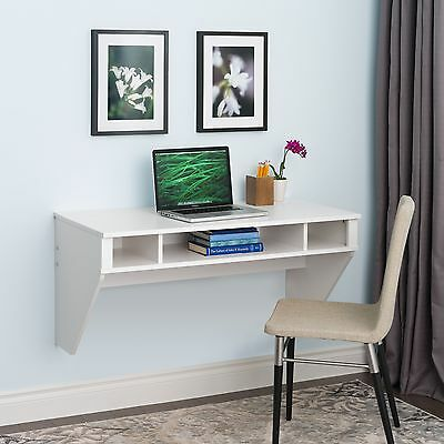 Desk Floating Office Computer Storage Furniture White Student Prepac Table