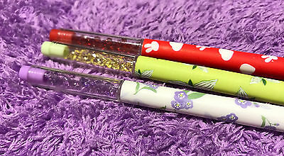 6x Floral Pens Crystal Black Ink Shiny Stone Needle Tip Gift Daisy Cute Colorful