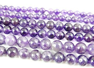 """Natural Round smooth Amethyst Jewelry Making loose gemstone beads strand 15"""" AAA"""