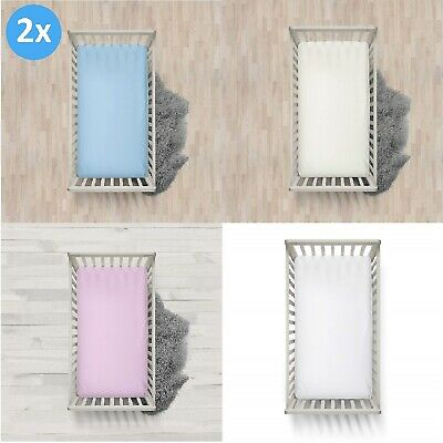 2 x Boys and Girls Cot  100% Cotton Thick Jersey Fitted Sheet Size 120cm x 60cm.