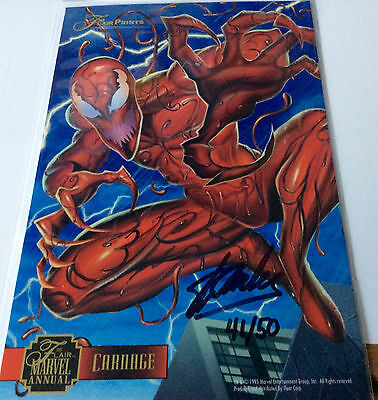 """1995 Flair Marvel Print 6 1/2"""" x 10"""" """" CARNAGE """" SIGNED STAN LEE NUMBERED"""