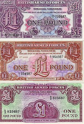 GREAT BRITAIN UK set of 3 British Armed Forces 1 Pound UNC Series 2,3,4