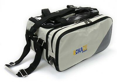 KAZE SPORTS 2 Ball Bowling Tote Bag Expandable Side Shoe Pocket Roller Two