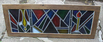 Framed Leaded Stained Glass Window~Abstract Colorful~
