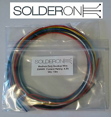 10m Hookup Wire Medium Duty Pack - Mixed Colours - UL1007