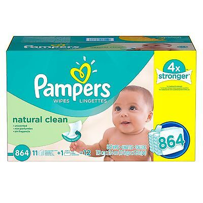 Pampers Natural Clean Unscented Baby Wipes (864 ct.)