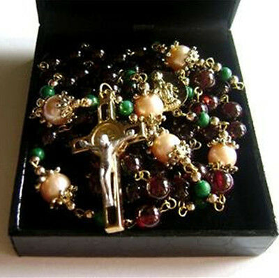 Pink Gold Pearl & Garnet Gemstone beads St.Benedict cross rosary necklace box