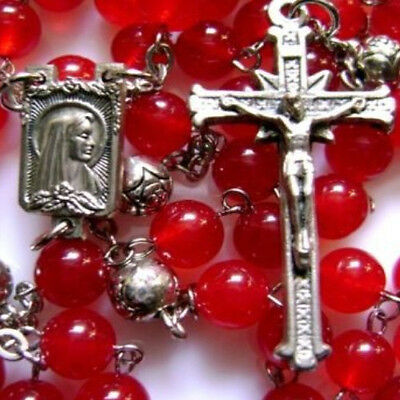 *Red Bones Chalcedony & TIBET SILVER Rose Beads Rosary medal catholic necklace