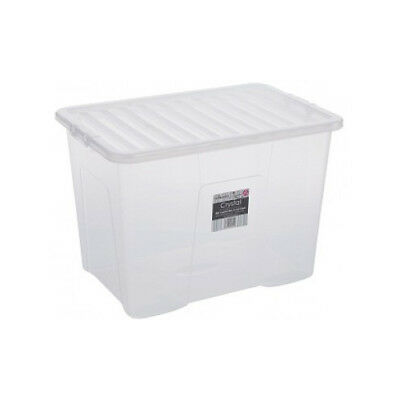 Clear Plastic Storage Box 80 Ltr, Litre/ Big Stacker Boxes Large Contanier & Lid