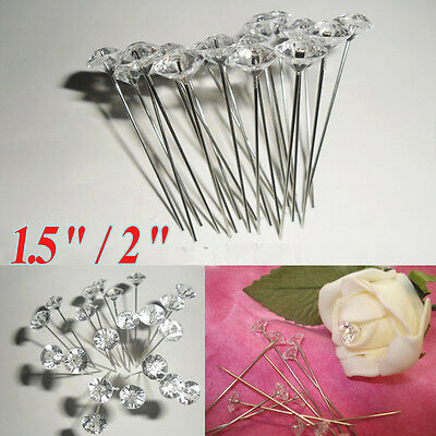 Diamante Diamonte Florist Pins Buttonholes Wedding Bouquet Flowers Pin Craft DIY