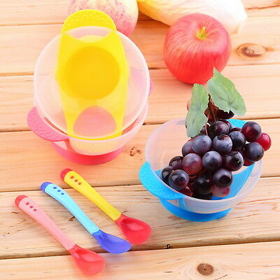 2015 New Baby Kids Tableware Set Suction Bowl Temperature Sensing Spoon and Fork