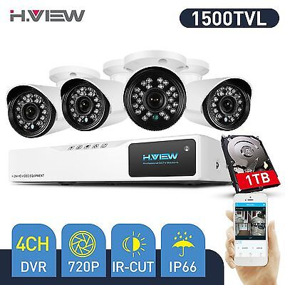 H.View CCTVSecurity CameraSystem 4CH 720P AHD DVR Kit Outdoor1.0MP Cameras 1T