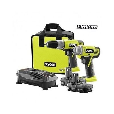 New RYOBI Plus One 18 Volt Lithium Ion Cordless Drill Driver Tool Set Mag Tray