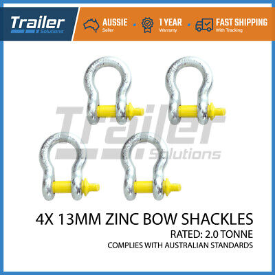 x4 BOW SHACKLE 13MM RATED 2000KG FITS ARB, TJM WINCH SNATCH 4WD TRAILER TOW CAR