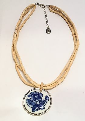 Ralph Lauren Blue and White Delft Pendant Wood Beads Necklace