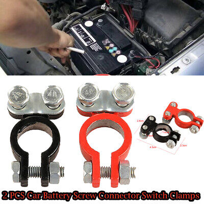 2PCS Screw Connection Aluminum Car Battery Terminal Disconnect Switch Clamps New