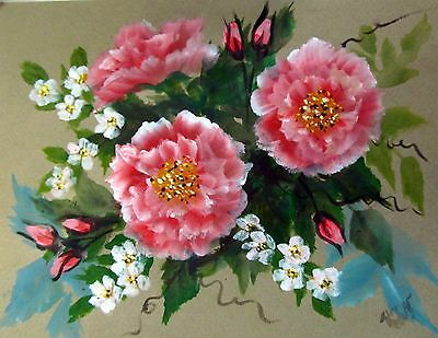 """Painting by ACEO painter Acrylic on paper 8x6"""" Wild Roses and Jasmine Shrub"""
