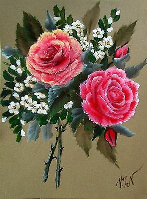 """Original Painting by VJN Acrylic on paper 8x6"""" Roseate Roses and Jasmine Bouquet"""