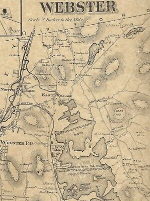 Webster North Village Dudley Chaseville MA 1870 Maps with Homeowners Names Shown