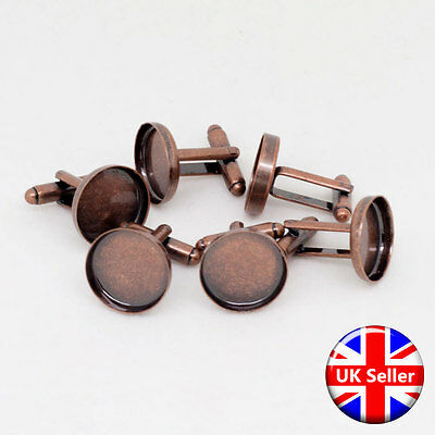 Antique Copper Cufflink Setting Blanks Fits 16mm Cabochon