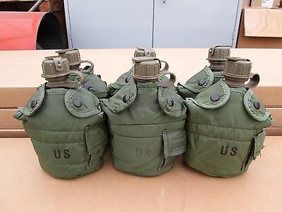 US MILITARY 1 QUART CANTEENS & LC-2 OLIVE DRAB COVERS [Qty/6] ~GENTLY~USED~